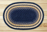 Braided Rug Oval Light and Dark Blue with Mustard