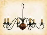 Franklin 6 arm Wrought Iron and Wood Chandelier