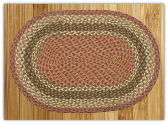 Braided Rug Oval Olive Burgundy Gray