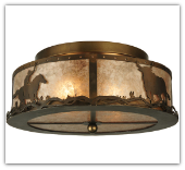 Cowboy and Steer Flushmount Ceiling Light 16''