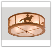 Cowboy and Steer Flushmount Ceiling Light 22''