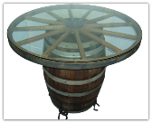 Wooden Wagon Wheel Barrel Cocktail Table with Horseshoe Feet