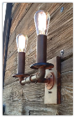 Industrial Steel Pipe Double Rustic Sconce