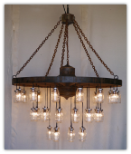 Rustic Wagon Wheel with Mason Jars Chandelier