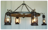 Wagon Wheel Indoor/Outdoor Chandelier Horizontal Hanging Lanterns
