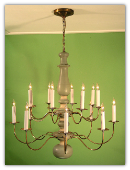 Early American Wooden Chandelier 2 Tier