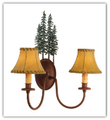 Pine Tree 2 Light Wall Sconce with Shades