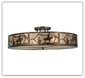 Cowboy Sihouette Extra Large Semi Flush Mount Ceiling Light