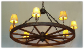 Wagon Wheel Indoor/Outdoor Chandelier- Rawhide Shades