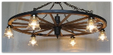 Wagon Wheel Indoor/Outdoor Chandelier With Glass Lights