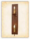 Vertical Double Arm Rustic Wood Sconce