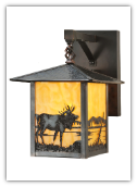 Elk at Lake Lantern Style Wall Sconce