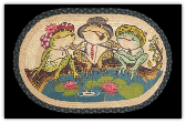 Braided Rug Frog Family Fishing