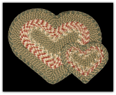 Green Burgundy Braided Heart Rug