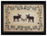 Braided Rug Rectangle Moose Pinecone