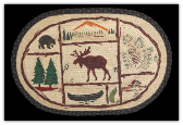 Braided Rug Moose Canoe