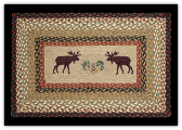 Braided Rug Rectangle Moose /Pinecone