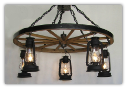 Wagon Wheel Indoor/Outdoor Chandelier Vertical 5 Lanterns