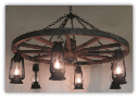 Wagon Wheel Indoor/Outdoor Chandelier Vertical 6 Lanterns