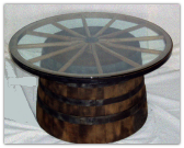 Wooden Wagon Wheel and Barrel Coffee Table
