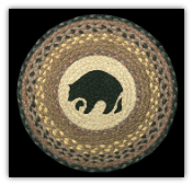 Braided Rug Round Black Bear