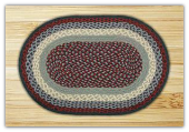 Blue Burgundy Braided Heart Rug