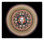 Braided Rug Round Buffalo Skull