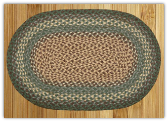 Braided Rug Oval Dark Green