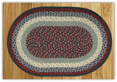 Braided Rug Oval Blue Burgundy