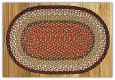 Braided Rug Oval Burgundy Mustard