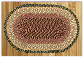 Braided Rug Oval Burgundy Gray Creme