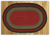 Braided Rug Oval Burgundy Olive Charcoal