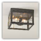 Double Ceiling Light with Brass Bars Country Tin Finish