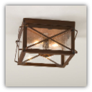 Double Ceiling Light with Folded Bars in Rustic Tin Finish