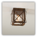 Rustic Ceiling Light with Crossbars in Rustic Tin