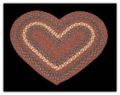 Burgundy Gray Braided Heart Rug