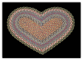 Burgundy Blue Gray Braided Heart Rug