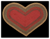 Burgundy Green Sunflower Braided Heart Rug