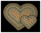 Dark Green Braided Heart Rug