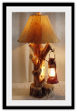 Juniper Wood Old  WestTable Lamp w/ Hanging Lantern