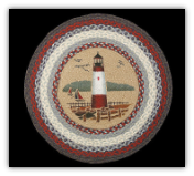 Braided Rug Round Lighthouse