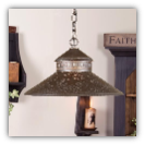 Shopkeeper Shade Light w/Star Design Blackened Tin