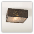 Square Ceiling Light with Chisel Design in Blackened Tin
