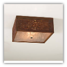 Square Ceiling Light with Chisel Design Rustic Tin Finish