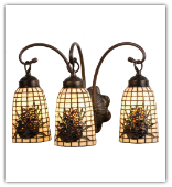 Tiffany Beige Pinecone 3 Light Vanity