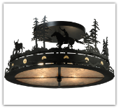 Cowboy and Steer Flushmount Ceiling Light