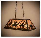 Cowboy and Steer Oblong Pendant Light