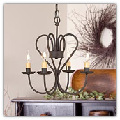 Georgetown Chandelier Black 4 arm