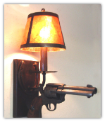 Horseshoe & Pistol Wall Sconce with Shade