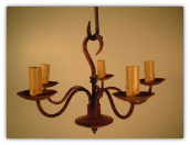 Primitive Wrought Iron Hook Chandelier